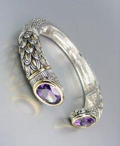 STUNNING Designer Inspired Purple Amethyst CZ Crystals Balinese Cuff Bracelet