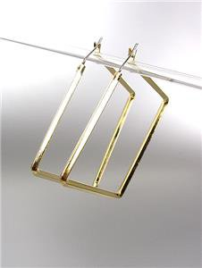 """CHIC & UNIQUE Thin GOLD Metal Square 1 3/4"""" Hoop Post Earrings"""