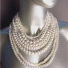 CLASSIC Graduated 7 Strands Creme Pearls Layered Drape Necklace Earrings Set