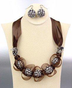 SPARKLE Brown Satin Antique Rhinestone Balls Crystals Tulle Necklace Set