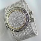 STUNNING Chunky Silver Cable Pave CZ Crystals Medallion Mesh Strap Bracelet
