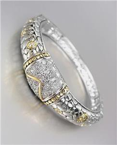 UNIQUE Balinese Silver Kali Dots Gold CZ Crystals Hinged Bangle Bracelet