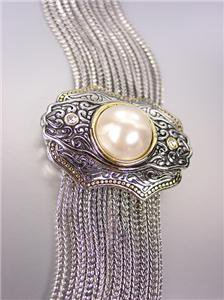 UNIQUE Designer Style BALINESE Filigree Pearl Crystals Medallion Cables Bracelet