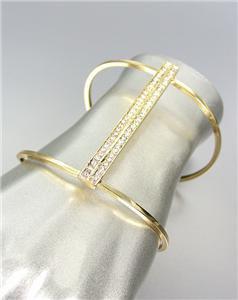 CHIC UNIQUE Sculpted Gold Metal CZ Crystals PLUS SIZE Cuff Bracelet