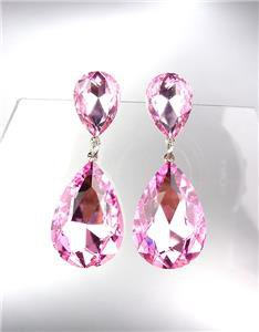 GLITZY Pink Czech Crystals Bridal Queen Pageant Prom Earrings 2631