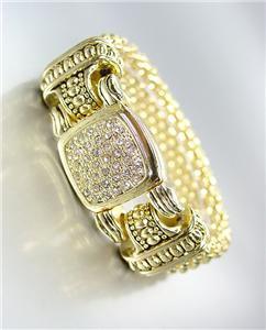 CLASSIC Designer Style Gold Mesh Pave CZ Crystals Magnetic Clasp Bracelet