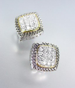 Designer Style Balinese Silver Wheat Gold Pave CZ Crystals Square Post Earrings