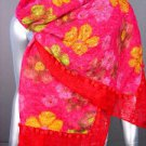 STYLISH Red Pink Multi Floral Crochet Knit Weave Fashion Scarf