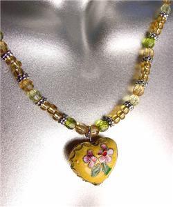 DECORATIVE Yellow Multi Cloisonne Enamel Floral Heart Pendant Necklace