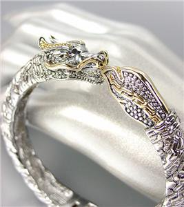 UNIQUE Designer Inspired Balinese Silver Cable Gold DRAGON Bangle Bracelet