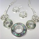 NATURAL Mother of Pearl Shell Antique Silver Kali Dots Metal Rings Necklace Set