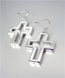 INSPIRATIONAL Brighton Bay Lightweight Silver Plated Cross Dangle Earrings
