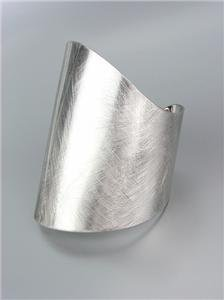 UNIQUE Brushed Silver Metal Organic Rounded Wide Cuff Bracelet Plus Size