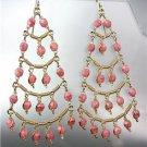 STUNNING Pink Tourmaline Crystal Beads Chandelier Dangle Peruvian Earrings B94