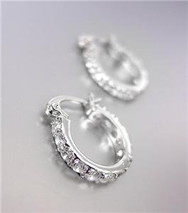 """CLASSIC 18kt White Gold Plated CZ Crystals THIN Petite 3/8"""" Hoop Earrings 6655"""