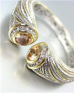 STUNNING Chunky Brown Topaz Crystals Tips Silver Cable Gold Hinged Cuff Bracelet