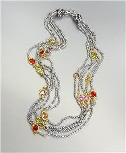 GORGEOUS Silver Box Chain Cables Multi CZ Crystals 5 Strands Magnetic Necklace