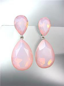 GLITZY Pink Opal Czech Crystals Bridal Queen Pageant Prom Earrings 2631