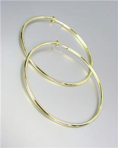 """CLASSIC Lightweight THIN Gold Metal Round 1 1/2"""" CLIP ON Hoop Earrings"""