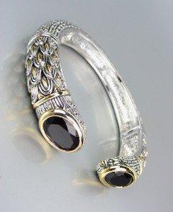 STUNNING Designer Inspired Black Onyx CZ Crystals Balinese Cuff Bracelet