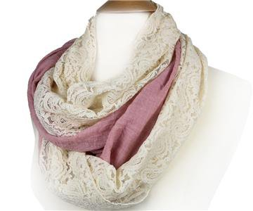 ELEGANT Mauve Pink Linen Feel Creme Brocade Lace INFINITY Wrap Scarf