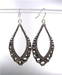 SPARKLE Antique Silver Metal Hematite CZ Crystals Tear Drop Dangle Earrings