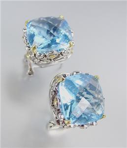 Designer Style Silver Gold Balinese Filigree Light Blue Topaz Crystal Earrings