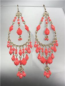 GORGEOUS Coral Red Crystals Peruvian Beads Gold Chandelier Dangle Earrings B9