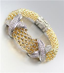 STUNNING X CZ Crystals Medallions Gold Metal Mesh Magnetic Bracelet