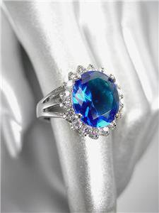 STUNNING 18kt White Gold Plated 5ct Blue Sapphire Crystal Heirloom Ring