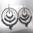 EXQUISITE Midnight Blue Crystals Hematite Beads Chandelier Peruvian Earrings