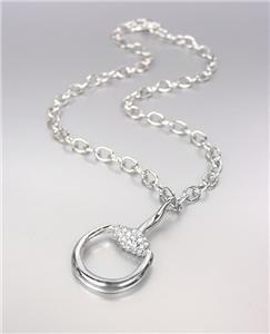 CHIC & STYLISH Designer Style Silver CZ Crystals Horsebit Pendant Chain Necklace