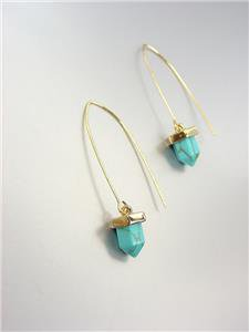 CHIC Gold Turquoise Blue Stone Acorn Drop Threader Dangle Earrings