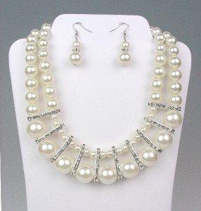 ELEGANT Bridal Dressy Creme Pearls Crystals Drape Necklace Earrings Set