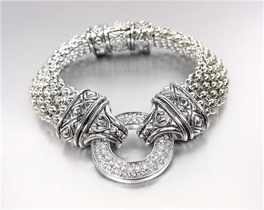 GORGEOUS Silver CZ Crystals Ring Balinese Filigree Mesh Magnetic Clasp Bracelet