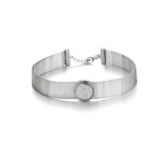 UNIQUE Pave CZ Crystals Cable Round Medallion Silver Mesh Strap Choker Necklace