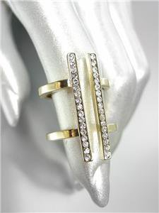 CHIC Urban Anthropologie Sculpted Gold Metal CZ Crystals Double T Bar Ring