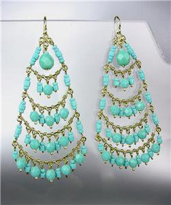 STUNNING Turquoise Crystal Beads Gold Chandelier Dangle Peruvian Earrings B8-1