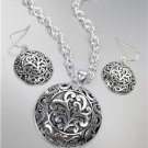 CLASSIC Brighton Bay Silver Antique Filigree Round Pendant Necklace Earrings Set