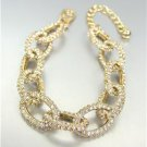 STUNNING Designer Style Gold CZ Crystals Encrusted Chain Links Bracelet