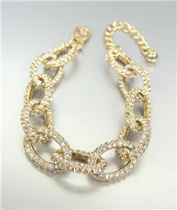 STUNNING Designer Style Gold CZ Crystals Encrusted Chain Links Bracelet