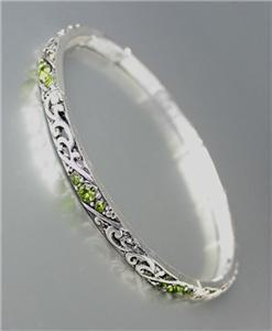 CLASSIC Brighton Bay Thin Silver Filigree Olive CZ Crystals Stretch Bracelet