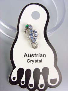 ADORABLE Blue Austrian Crystal SEA HORSE Invisible PETITE Toe Ring