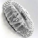 STUNNING Silver Cables CZ Crystals Medallion Metal Mesh Magnetic Bracelet