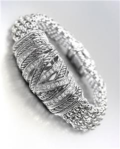 STUNNING Silver Cables CZ Crystals Medallion Metal Mesh Magnetic Bracelet