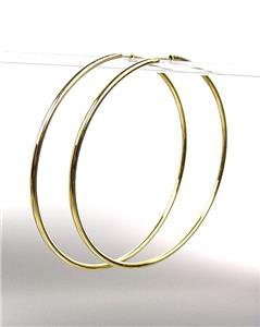 """CHIC Lightweight Gold Continuous INFINITY 2 1/2"""" Diameter Hoop Earrings 8881542"""