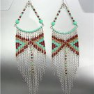 Turquoise Brown Silver Chains Bohemian Boho Gypsy Peruvian Chandelier Earrings