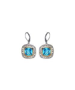 CLASSIC 18kt White Gold EP Blue Topaz CZ Crystal Petite Dangle Earrings