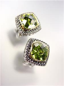 EXQUISITE Balinese Silver Wheat Cable Olive Green CZ Crystal Square Earrings