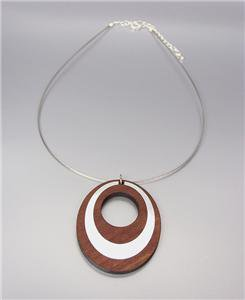 CHIC Urban Anthropologie Wood Silver Metal Inlay Oval Pendant Cables Necklace